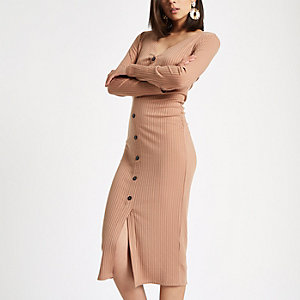 Light beige button front bodycon dress