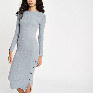 Grijs gemêleerde geribbelde midi-jurk met knoopsluiting opzij
