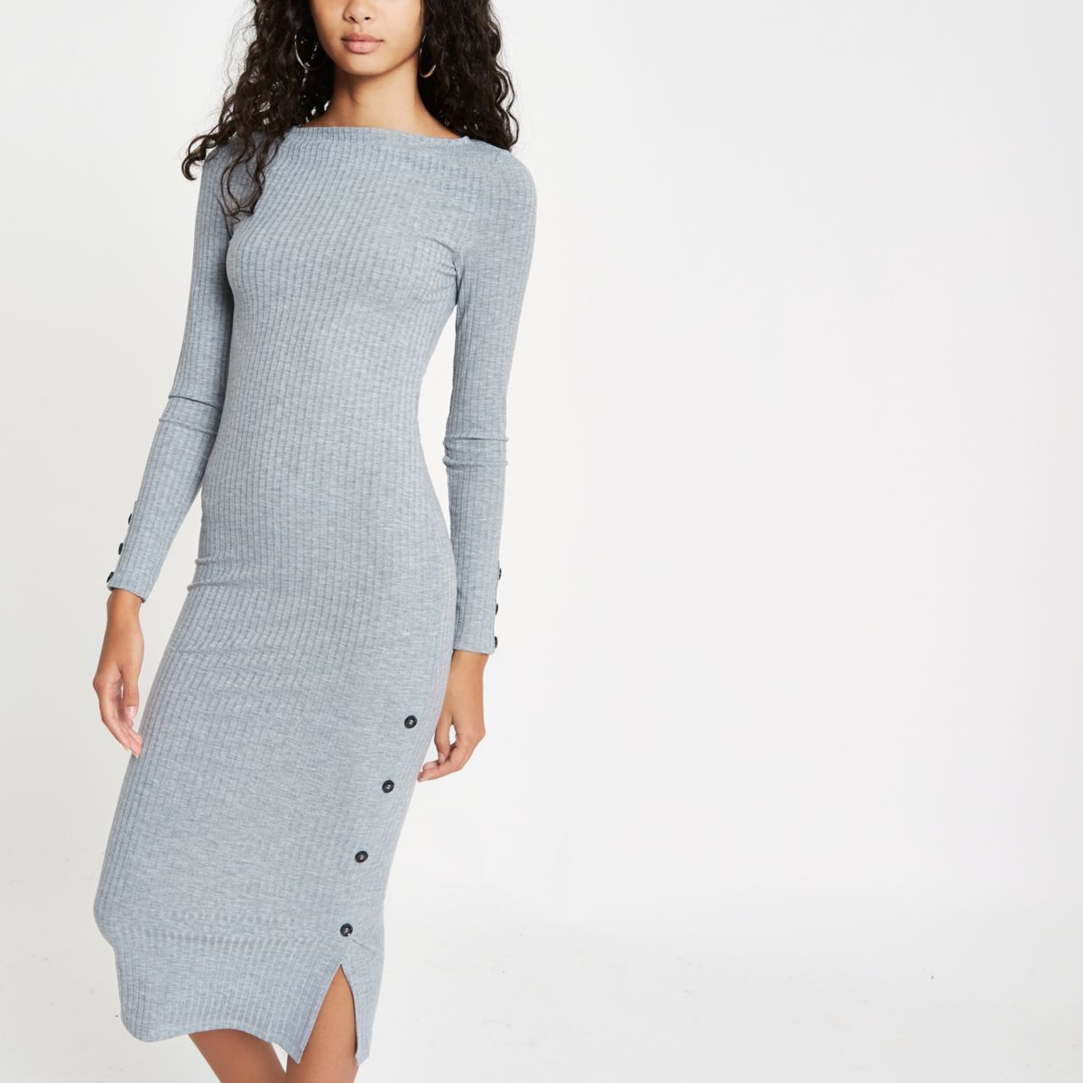 Grey marl rib button side midi dress
