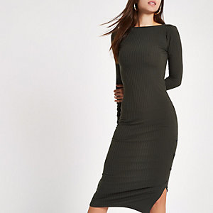Dark green rib button side midi dress
