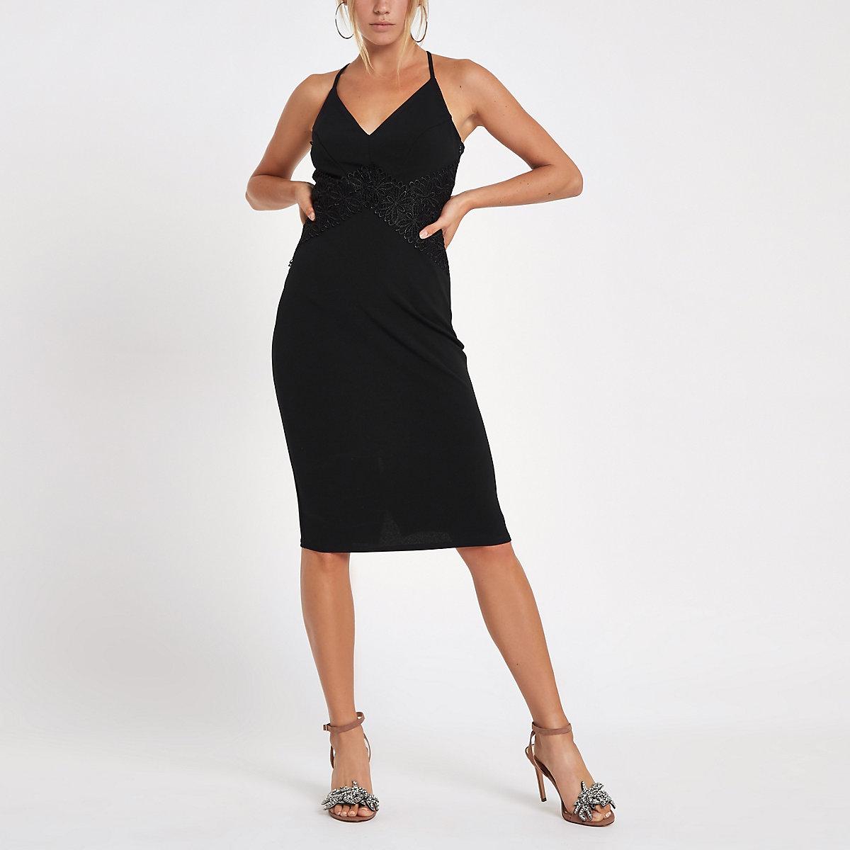 f55faed57c66f1 Zwarte bodyconmidi-jurk met kanten inzetstukken - Bodyconjurken ...