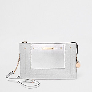 Silver glitter panel chain cross body bag