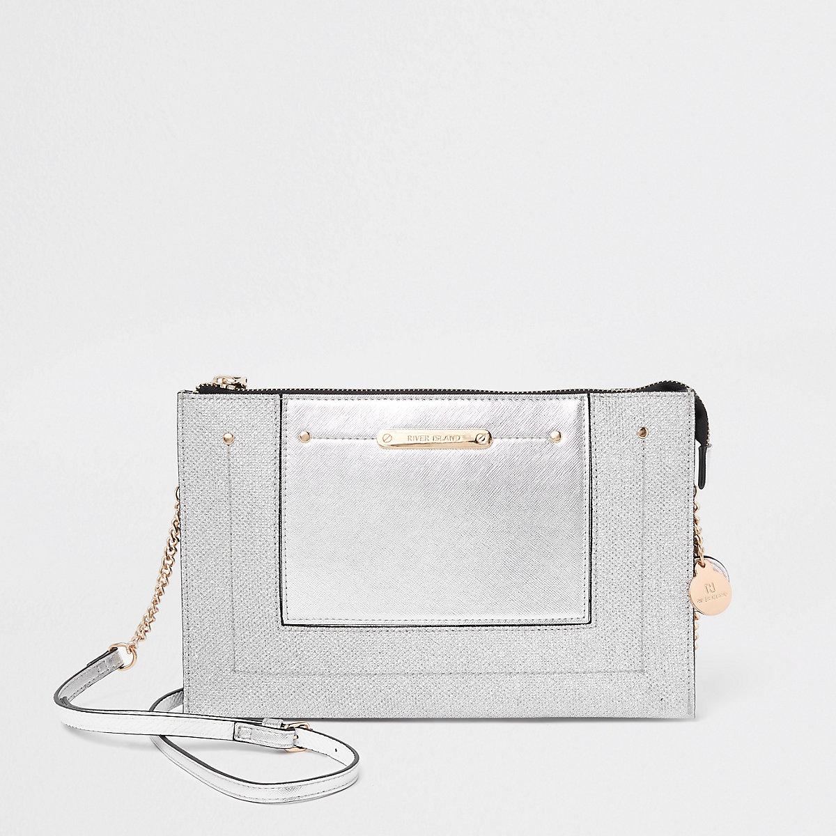 Silver glitter panel chain cross body bag