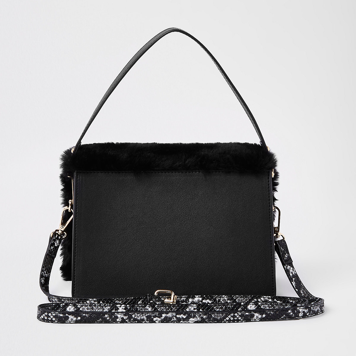 2645026747aa Black faux fur flap over cross body bag - RI Limited Edition - women
