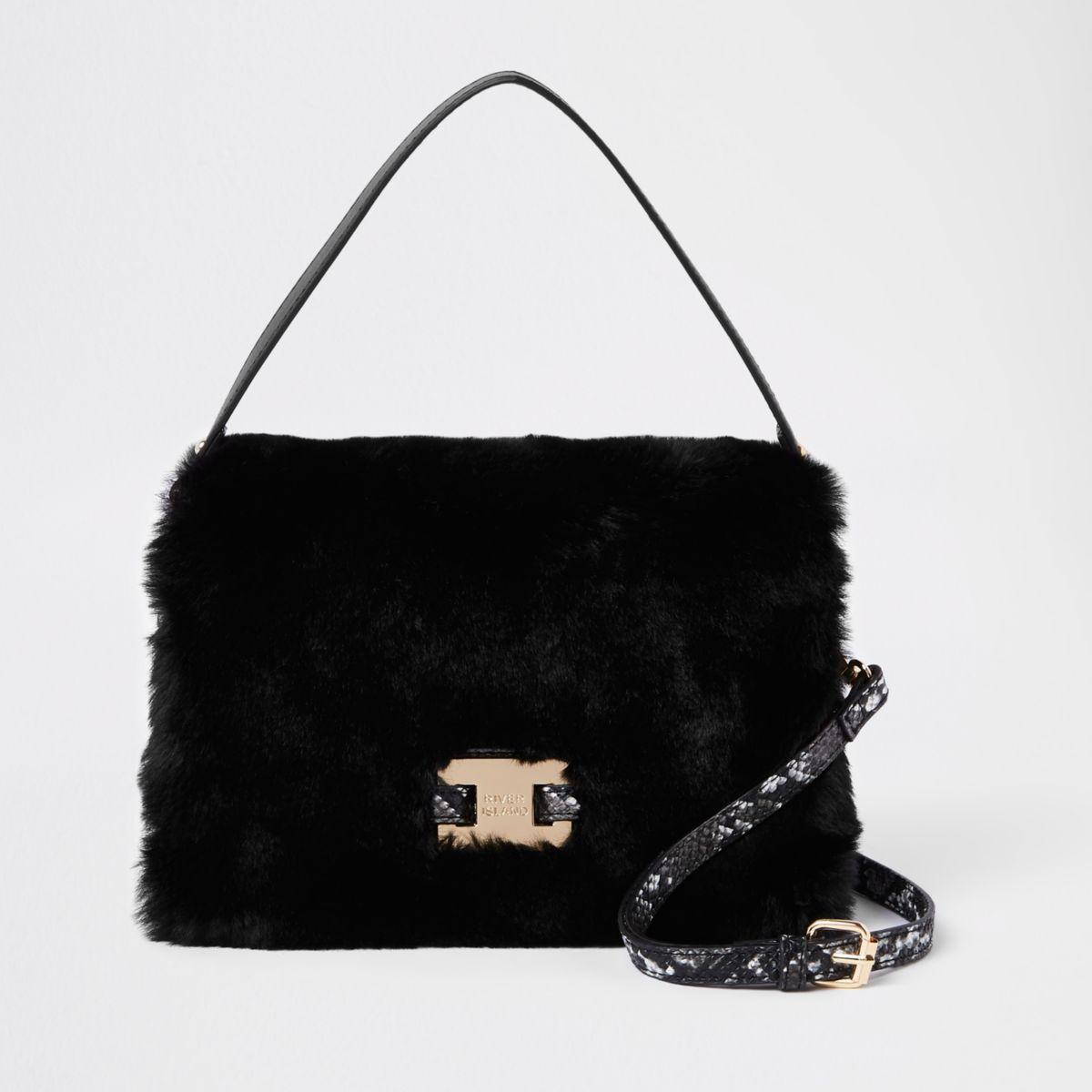 Black faux fur flap over cross body bag