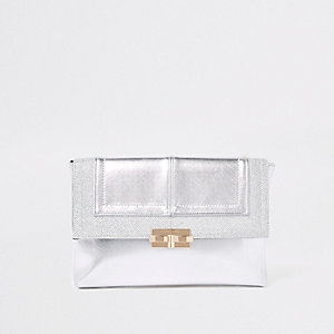 Silver metallic glitter clutch bag