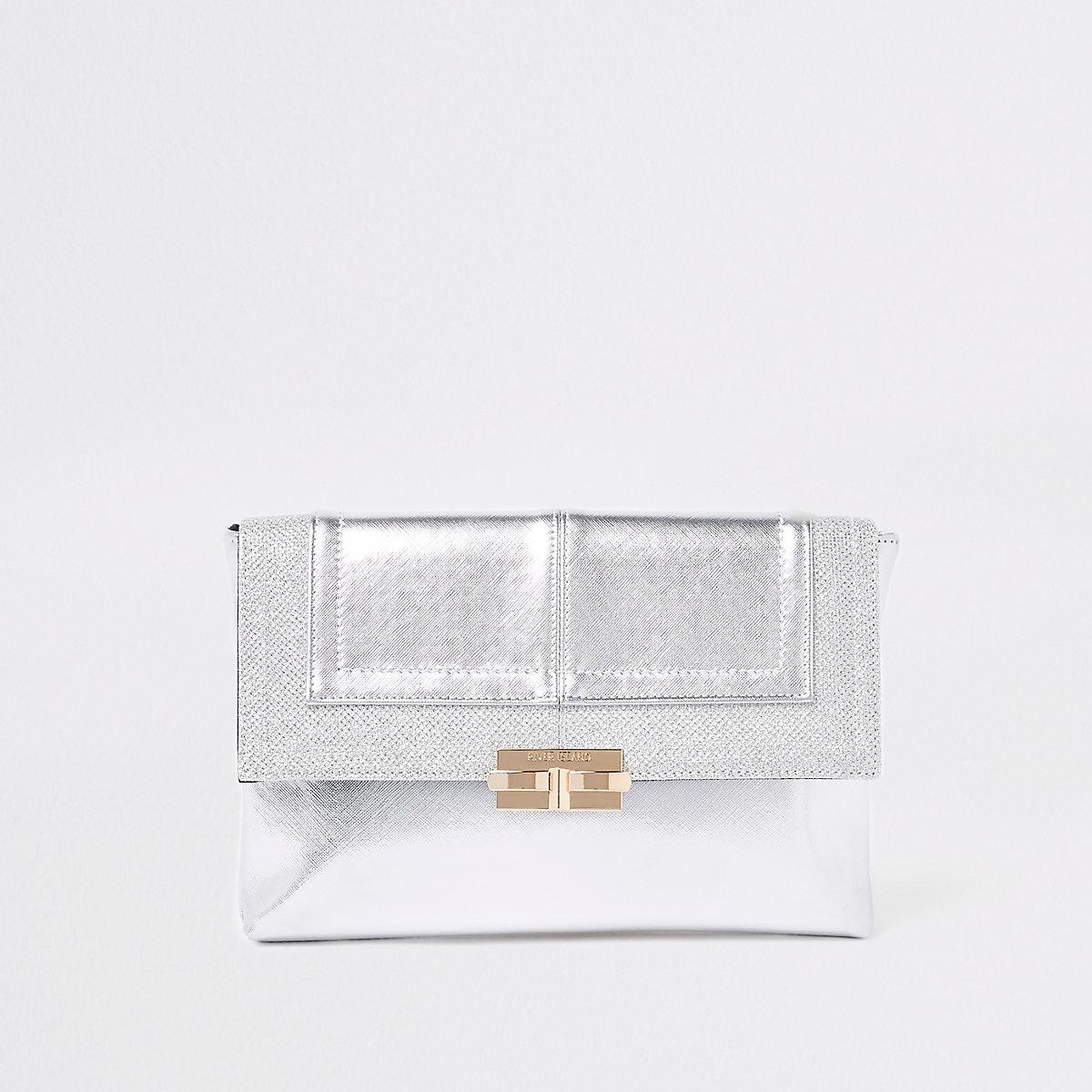 Silver metallic glitter clutch bag