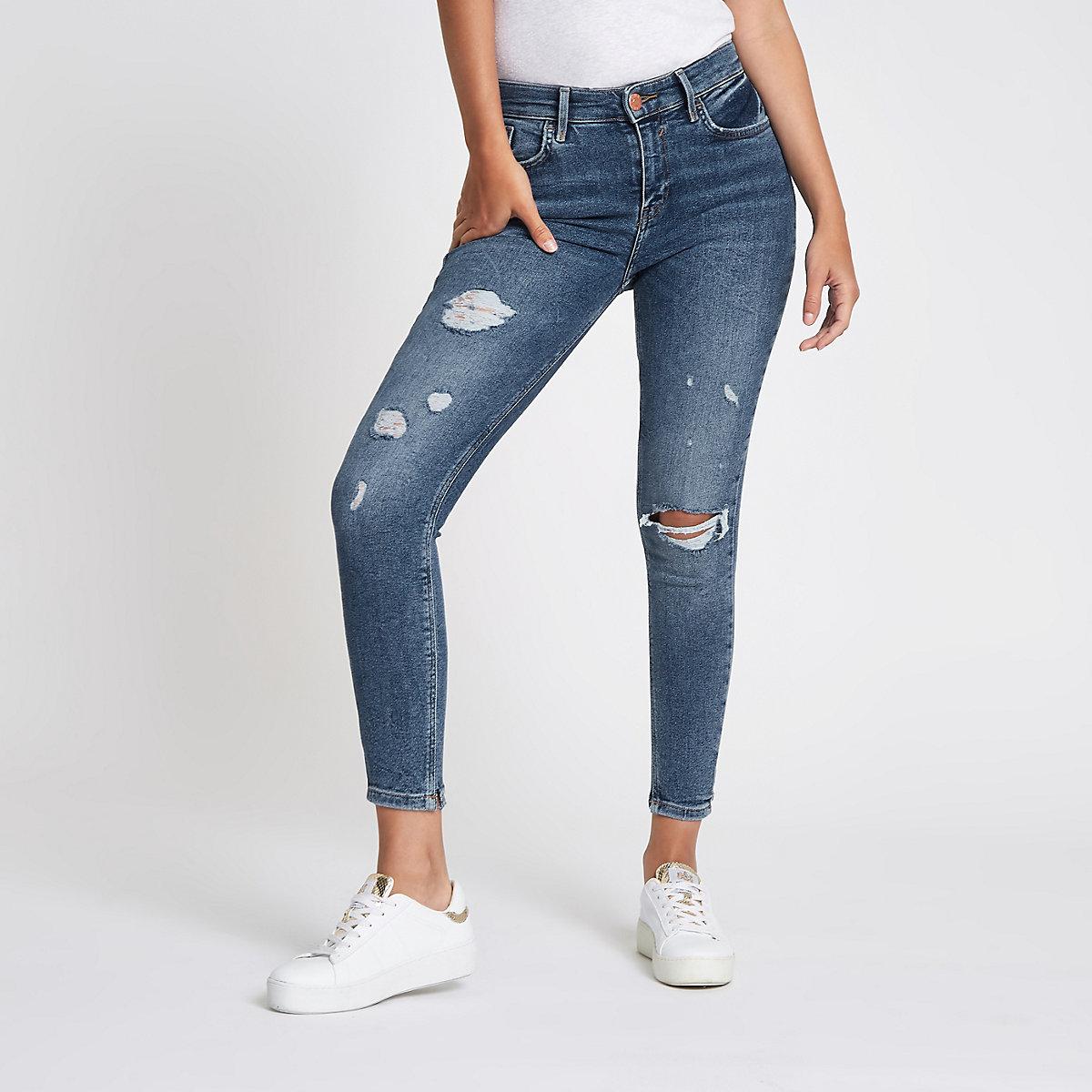 Mid blue Amelie distressed super skinny jeans