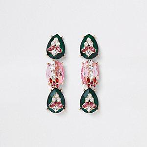 Clous d'oreilles avec pendants incrustés de pierres verts