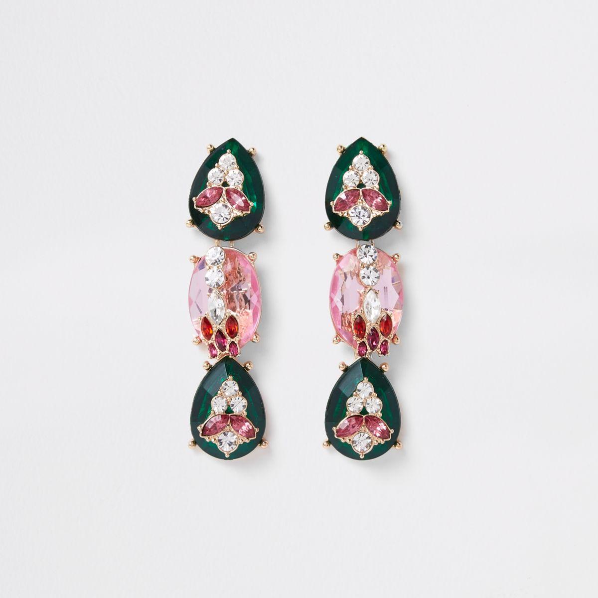 Green jewel encrusted drop stud earrings