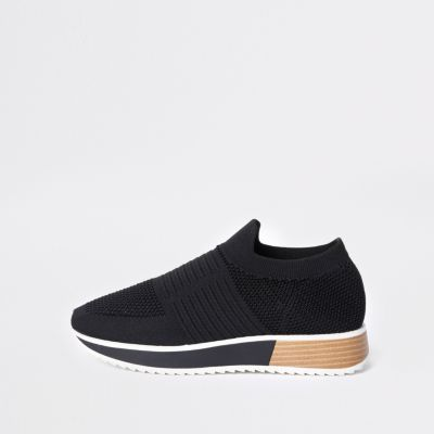 Black Textured Elastic Runner Shoes by River Island