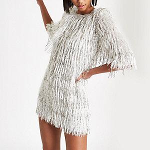 Petite silver sequin embellished fringe dress
