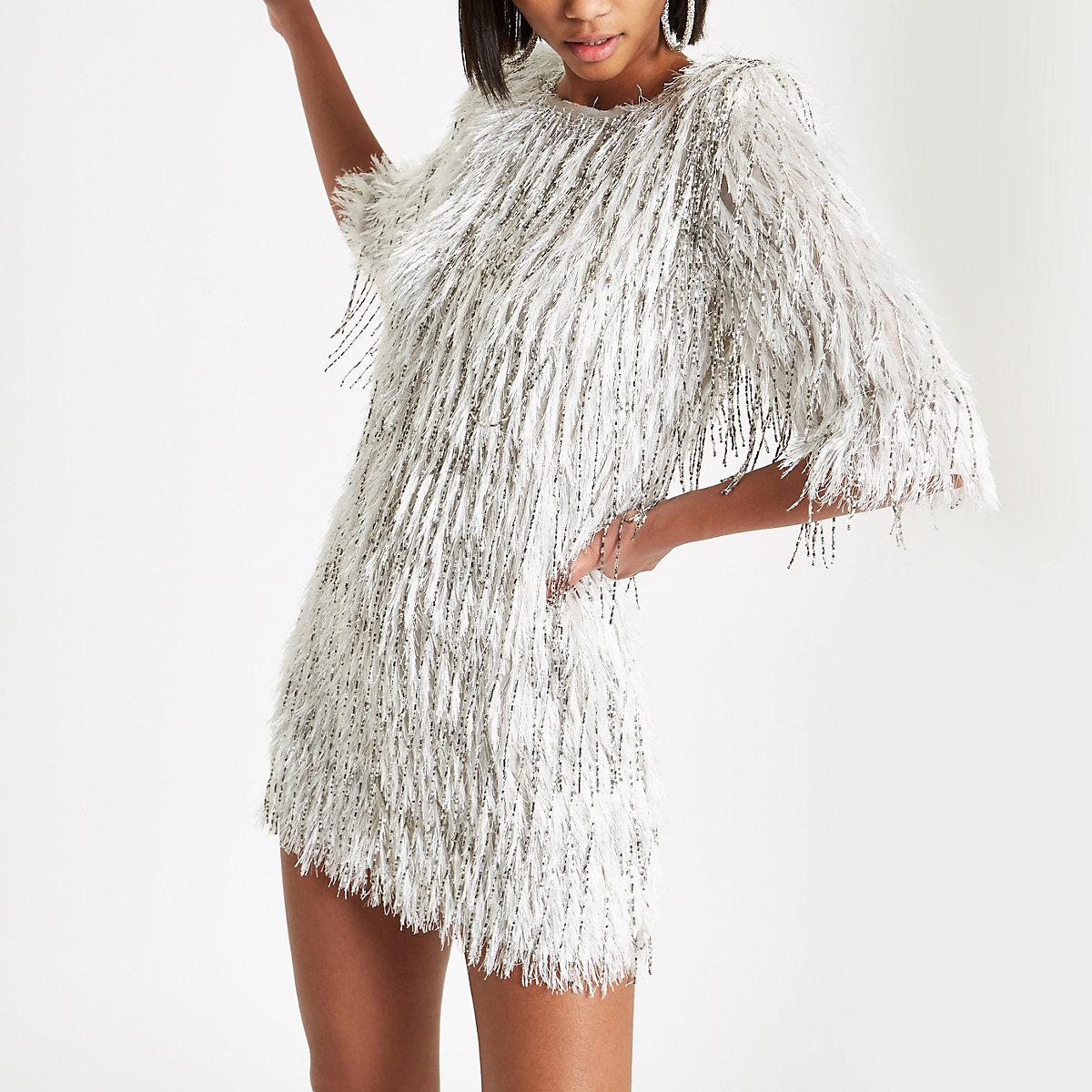 silver sequin embellished fringe dress swing dresses
