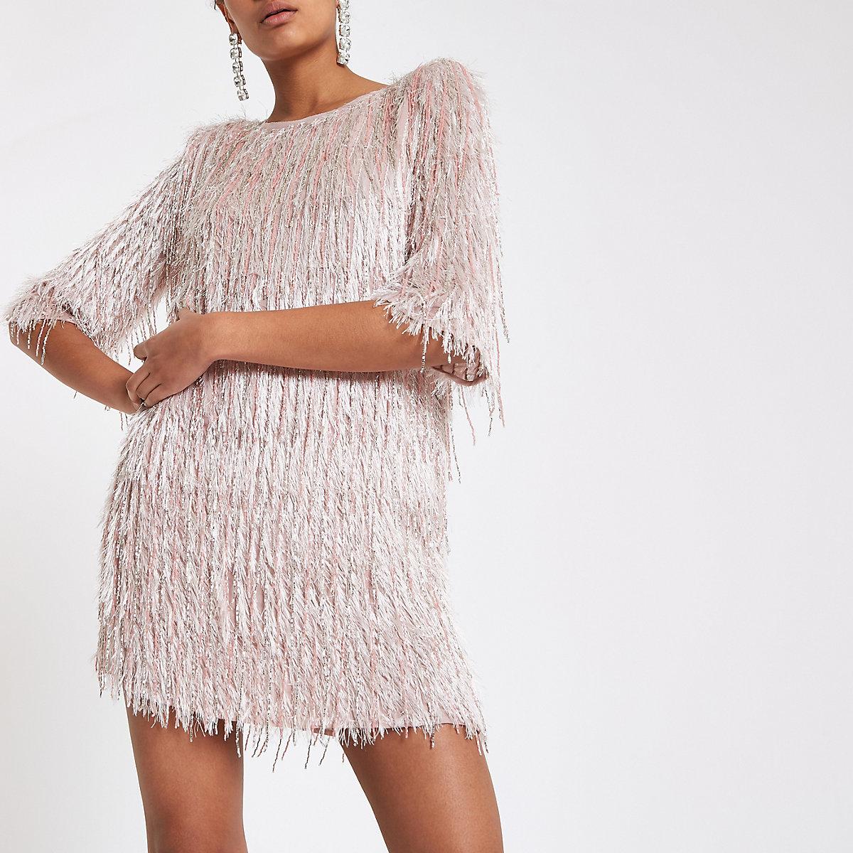 Light pink sequin fringe swing dress