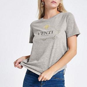 RI Petite - Grijs boyfriend T-shirt met 'venti'-print
