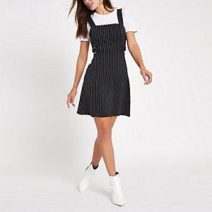 Black stripe D-ring waist belt mini dress
