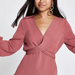 RI Petite - Koperbruine gedraaide blouse met lange mouwen