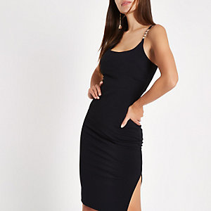 Black ribbed diamante trim midi dress