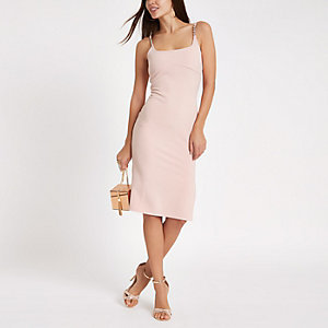 Light pink ribbed rhinestone trim midi dress