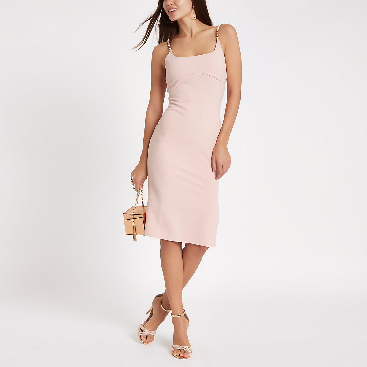 Light pink ribbed rhinestone trim midi dress