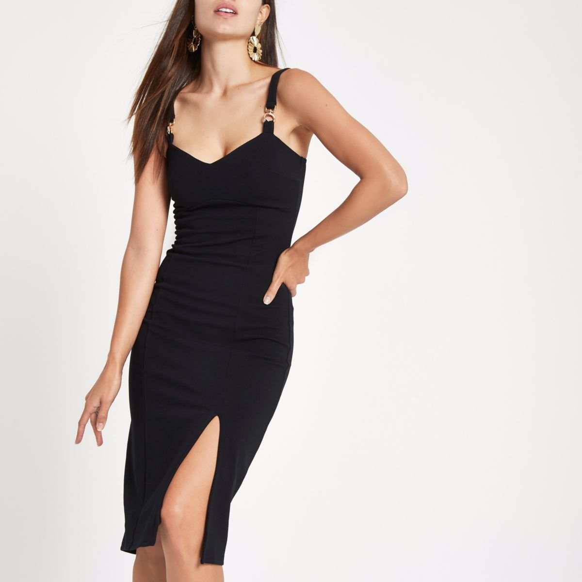 Black ribbed buckle strap bodycon midi dress