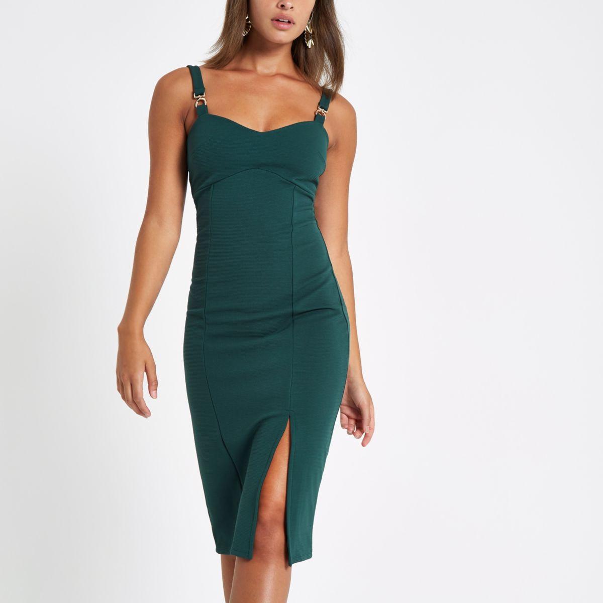 Green buckle strap bodycon midi dress