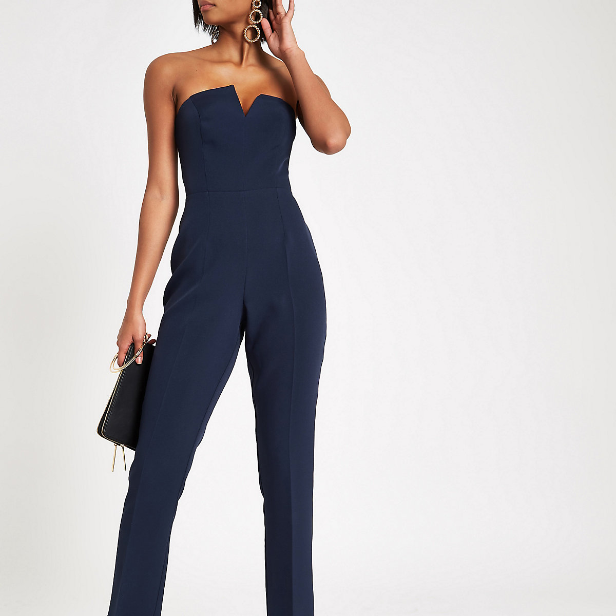 Navy bandeau V trim jumpsuit