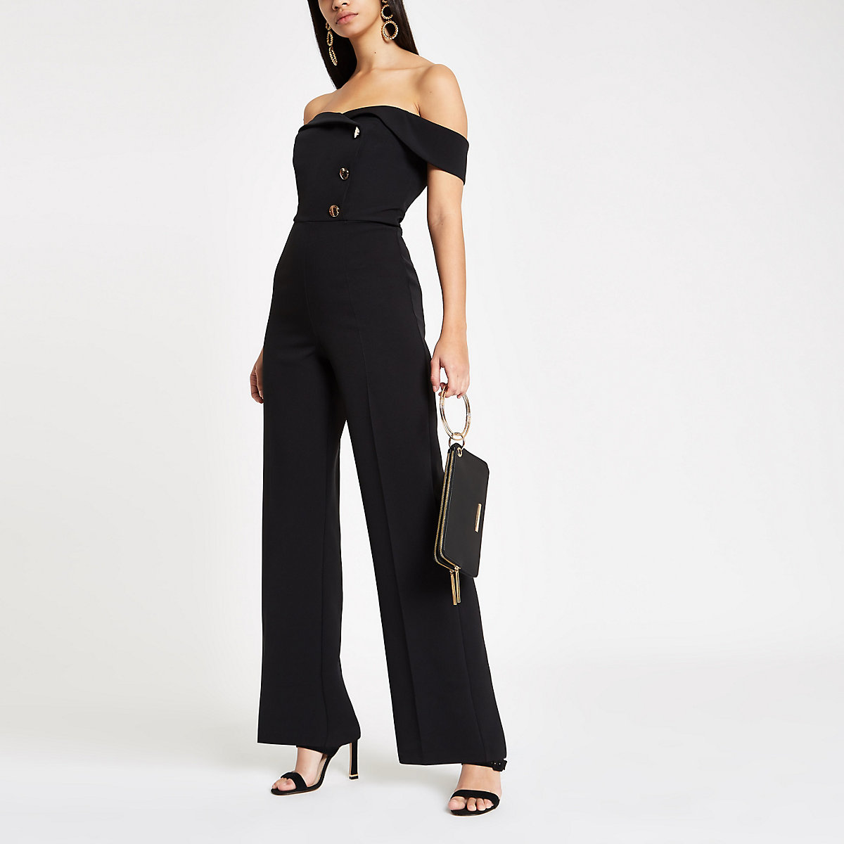 Black bardot tux wide leg jumpsuit