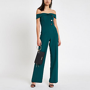 Dark green bardot tux wide leg jumpsuit