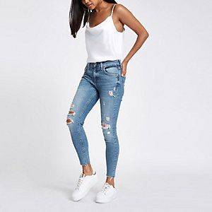 Petite – Amelie – Mittelblaue Jeans im Used Look