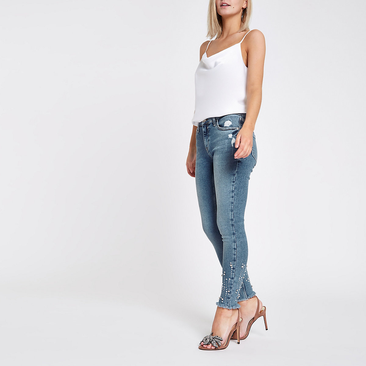 Petite blue mid rise studded Amelie jeans