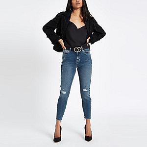 RI Petite - Original - Blauwe halfhoge skinny jeans