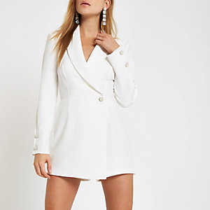 White long sleeve tux playsuit