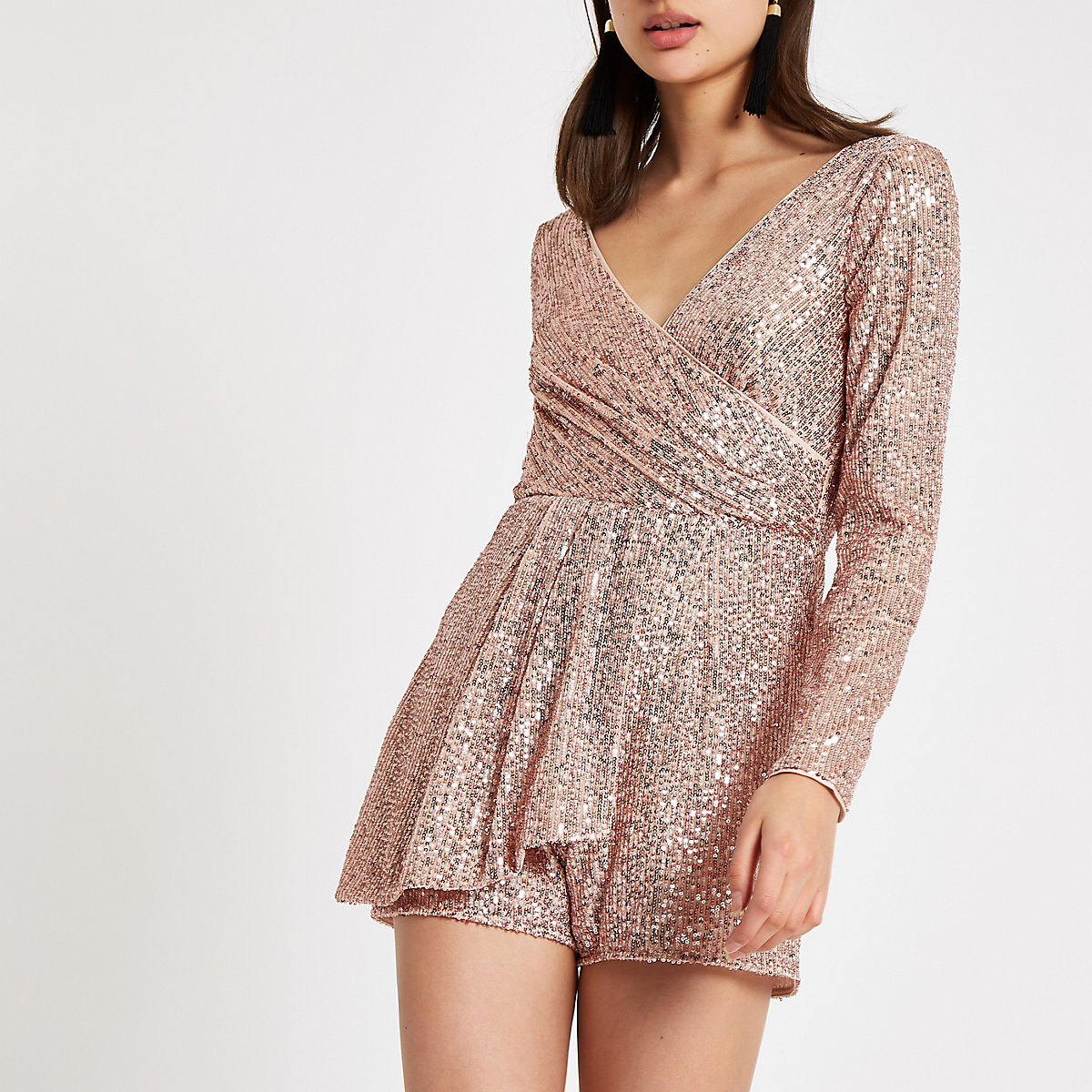 Rose gold sequin wrap front playsuit