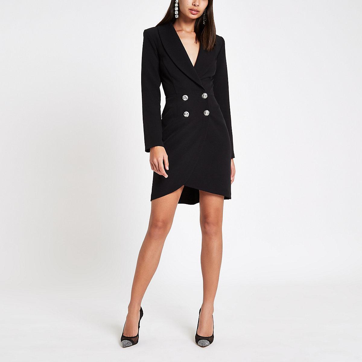 Black rhinestone embellished bodycon tux dress