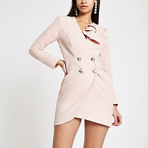 Light pink bodycon ruffle tux mini dress
