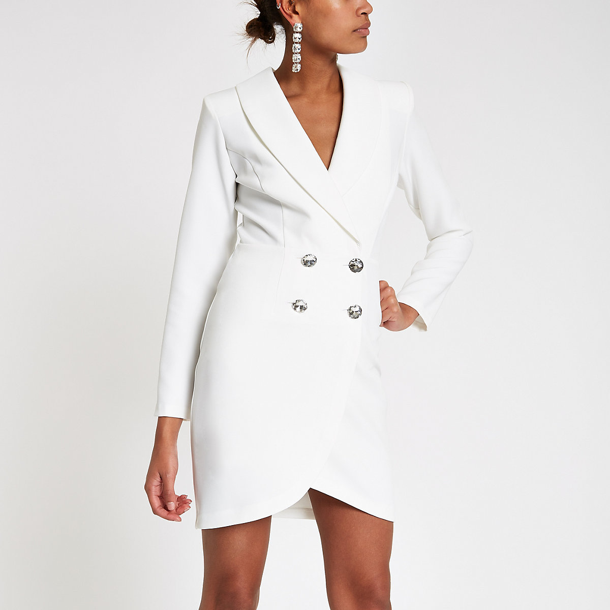 Cream diamante embellished bodycon tux dress