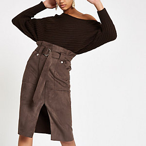 Brown suede paperbag waist belted midi skirt