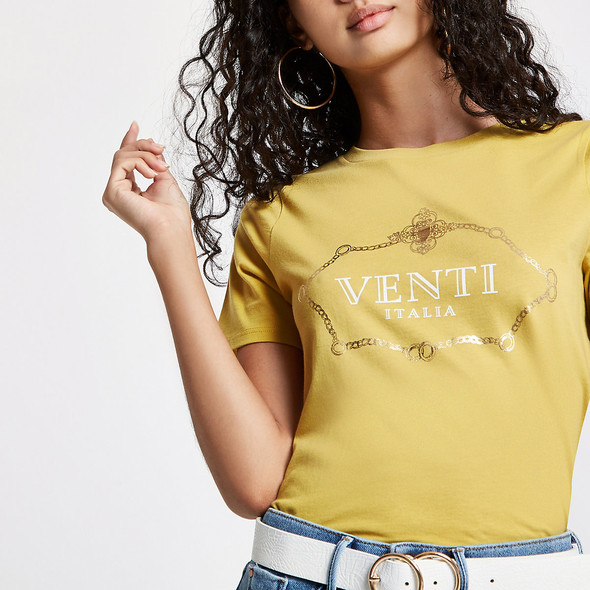 Yellow 'Venti Italia' print fitted T-shirt
