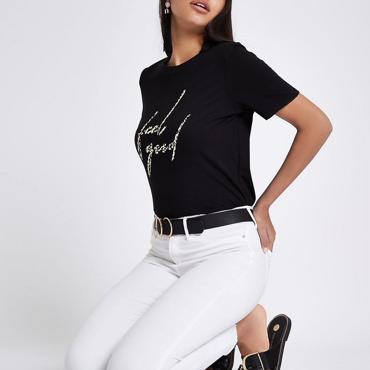 Schwarzes T-Shirt mit Leopardenprint