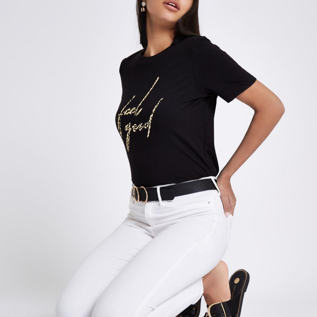 Zwart T-shirt met 'feel good'- en luipaardprint