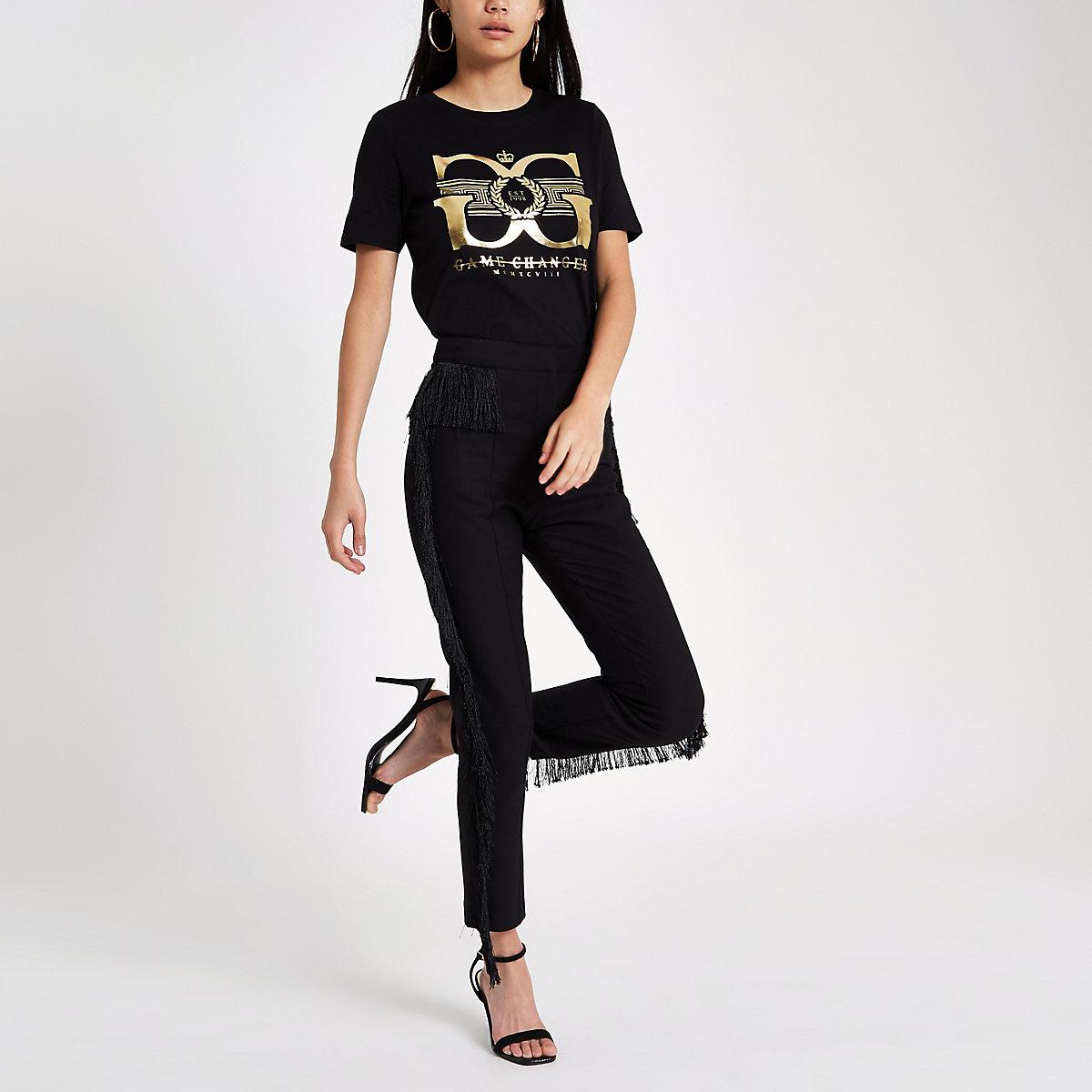 Black 'game changer' foil print T-shirt