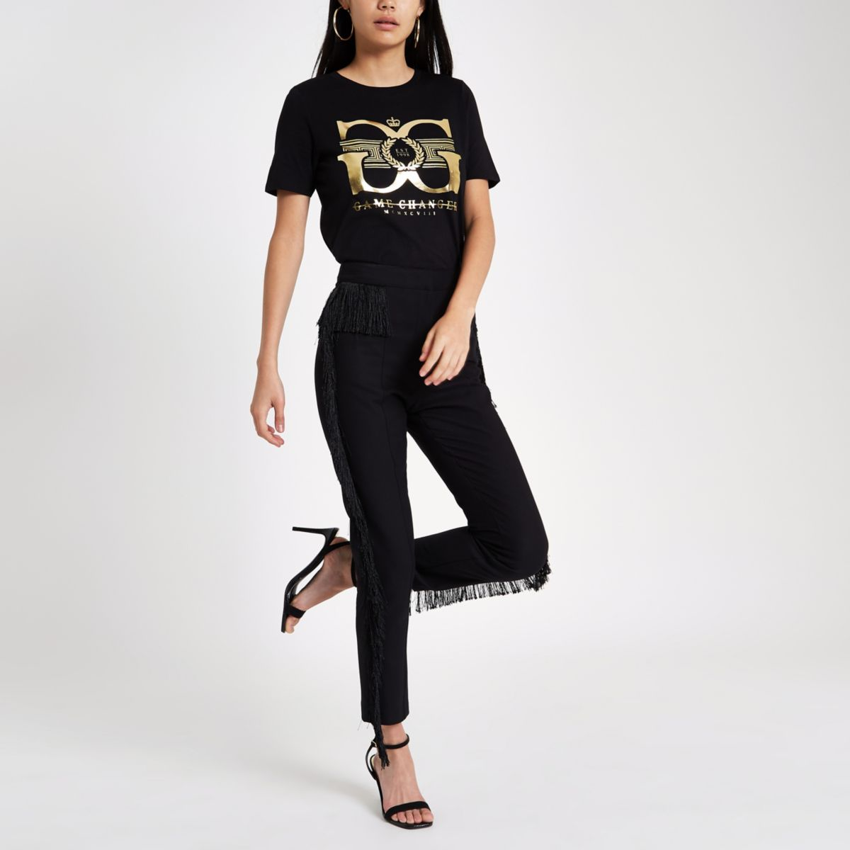 Black 'game changer' foil print T-shirt