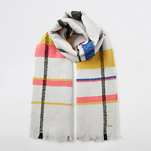 Cream color pop check scarf