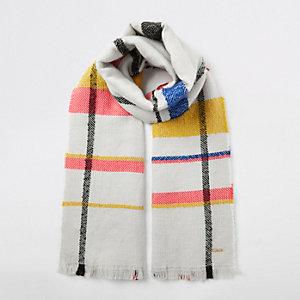 Crème geruite sjaal met felle kleuren