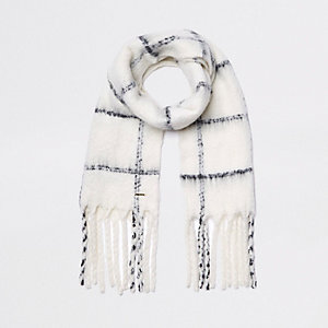 Cream check scarf