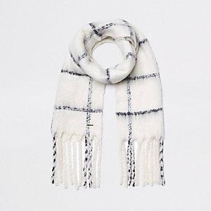 Crème geruite sjaal