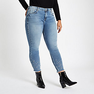 Plus light blue Amelie studded hem jeans