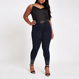 Plus blue mid rise embellished Harper jeans