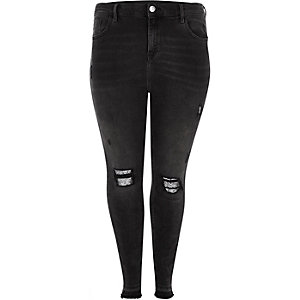 Plus black Molly ripped glitter panel jegging